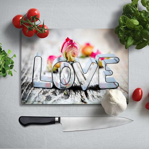 Love Uv Printed Glass Chopping Board 35x25cm