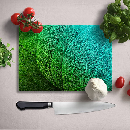 Green Leaves Uv Printed Glass Chopping Board 35x25cm