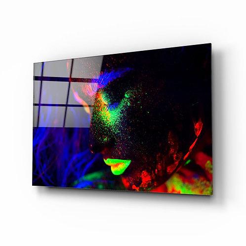 Woman Portrait UV Printed Glass Painting