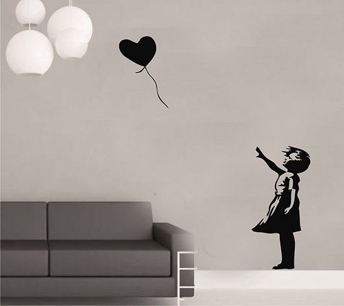 Flying Heart And Girl Wall Sticker