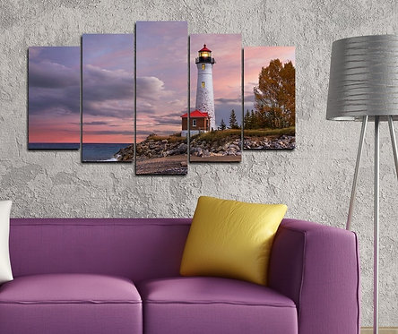 Lighthouse 5 Pieces MDF Painting