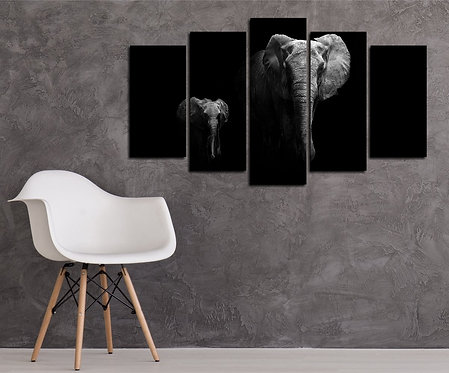 Elephant 5 Pieces MDF Painting