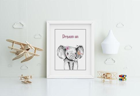 Elephant with Flower- Dream on Framed Printing