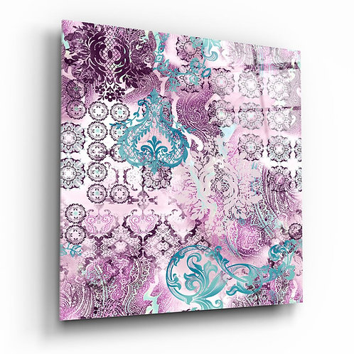 Purple Damask UV Printed Glass Painting