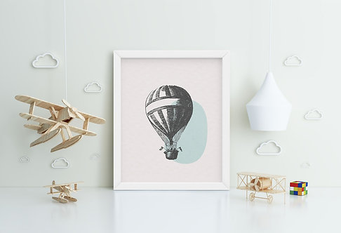 Charcoal Air Balloon Framed Printing