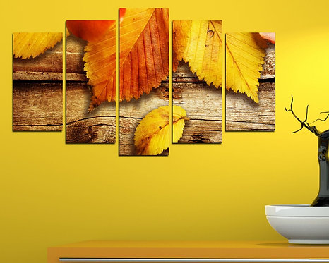 Leaves abstract (2) 5 Pieces MDF Painting