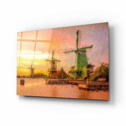 Windmills Glass Painting