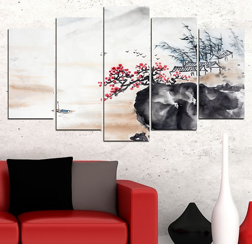 Blossom 5 Pieces MDF Painting