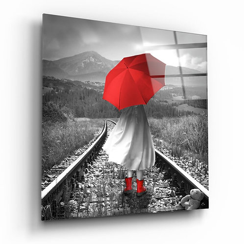 Girl with red umbrella UV Printed Glass Printing