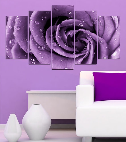 purple Rose 5 Pieces MDF Painting