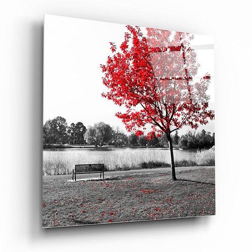 Red Tree UV Printed Glass Painting