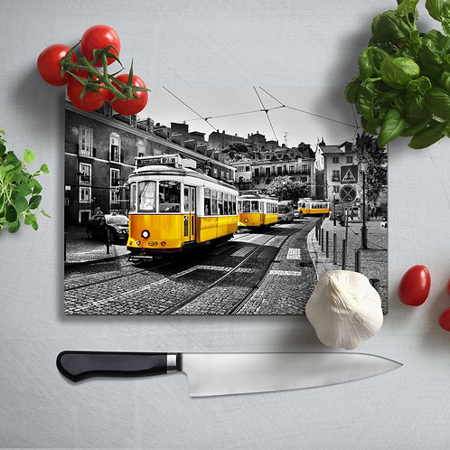 Yellow Tram Uv Printed Glass Chopping Board 35x25cm