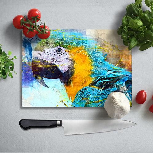 Parrot  Uv Printed Glass Chopping Board 35x25 cm
