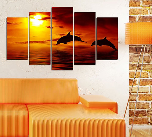 Dolphins 5 Pieces MDF Painting