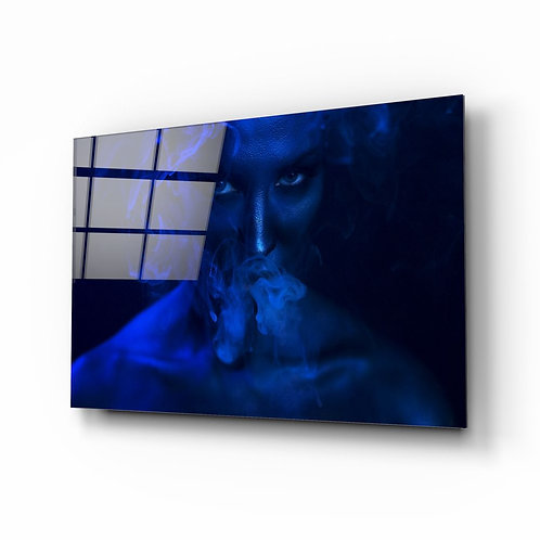 Smoke and Woman UV Printed Glass Printing