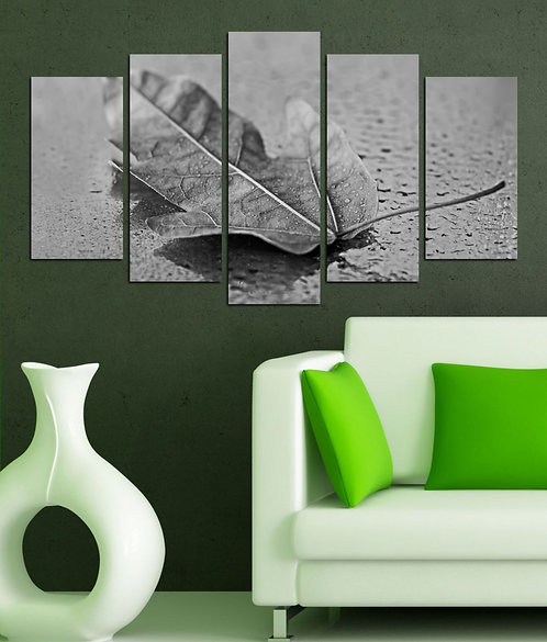 Leaf (3) 5 Pieces MDF Painting