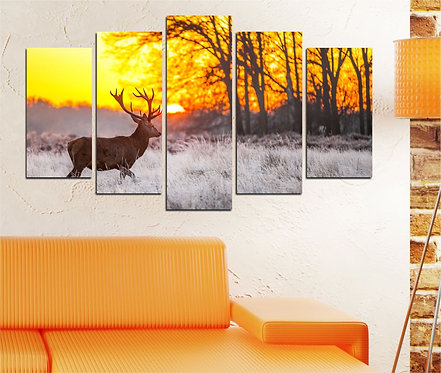 Deer 5 Pieces MDF Painting