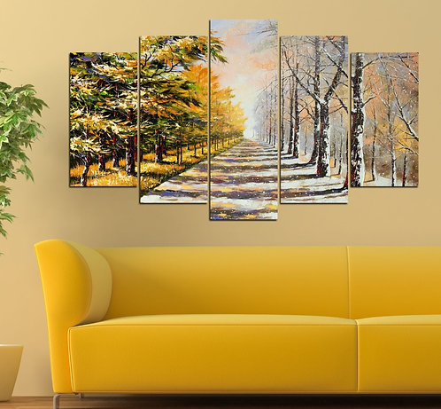 Autumn winter 5 Pieces MDF Painting