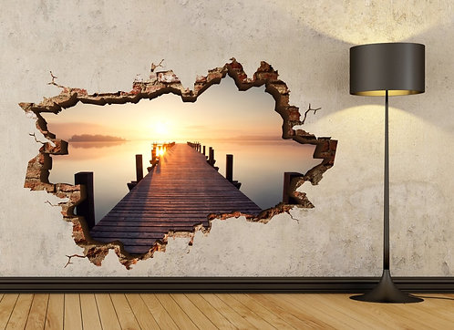 Sunset on the Shore 3D Wall Sticker