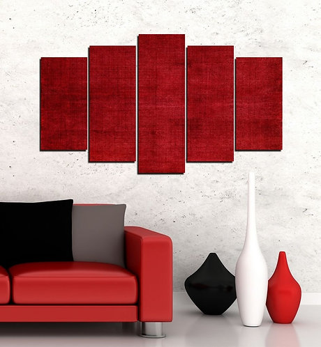 Red 5 Pieces MDF Painting