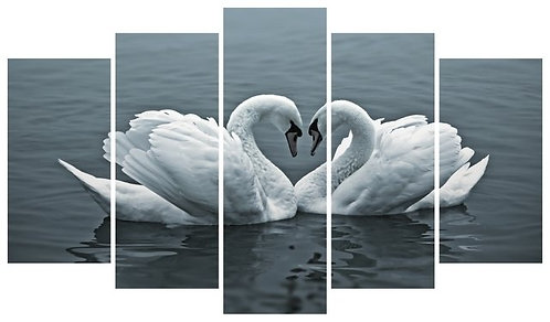 Swans in love 5 Pieces MDF Painting