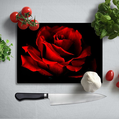 Red Rose UV Printed Glass Chopping Board 35x25cm