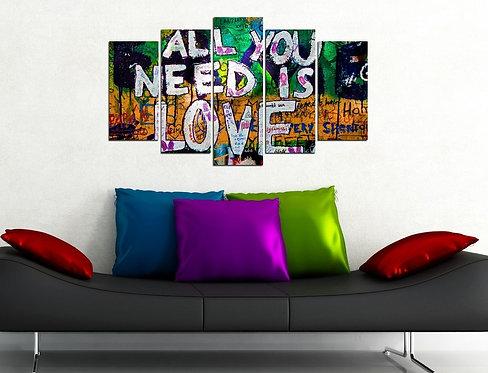 All you need is love 5 Pieces MDF Painting