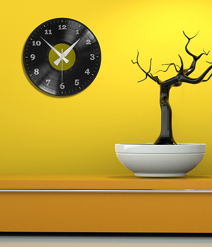 Yellow Plaque MDF Clock