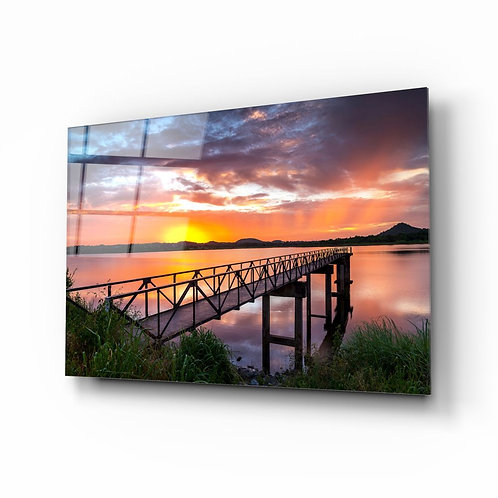 Sunset UV Printed Glass Painting the Beach