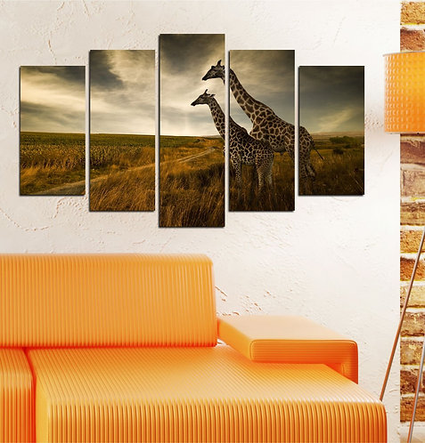Giraffe 5 Pieces MDF Painting
