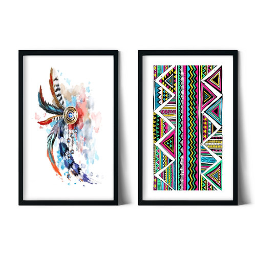 Native American and Ethnic Patterns Framed Combination Table