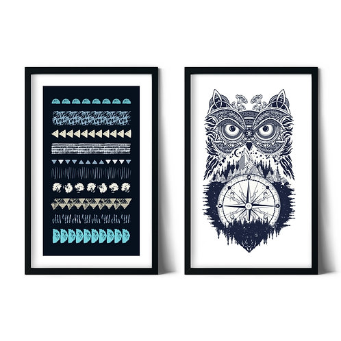 Owl and Patterns Framed Combination Table