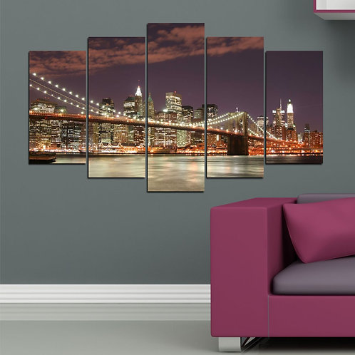 Brooklyn Bridge 5 Pieces MDF Painting