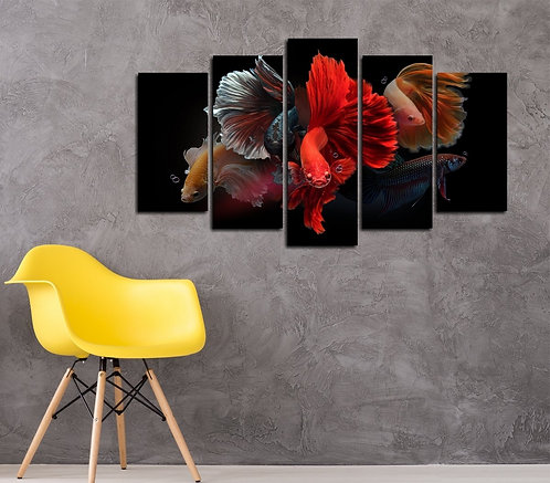 Betta Fishes 5 Pieces MDF Painting