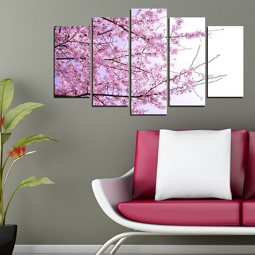 Flowers on branch 5 Pieces MDF Painting