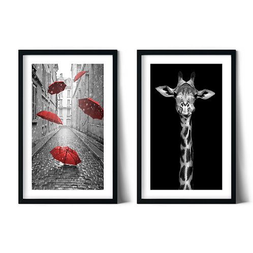 Giraffe and Umbrellas Framed Combination Table