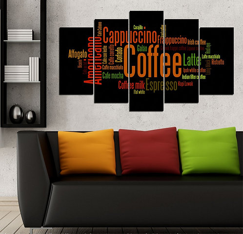 Coffee 5 Pieces MDF Painting