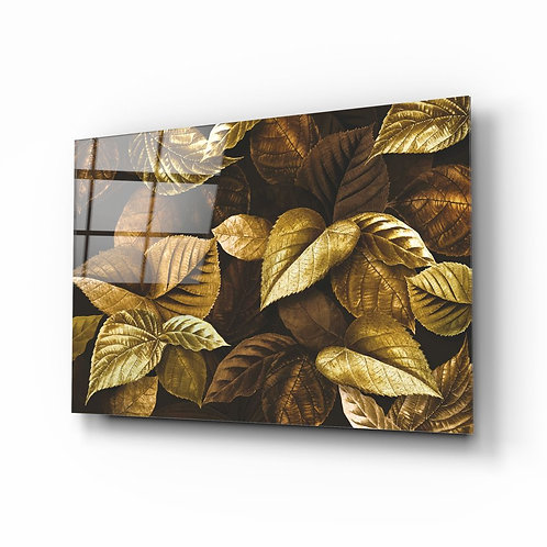 Yellow Leaf Glass Painting