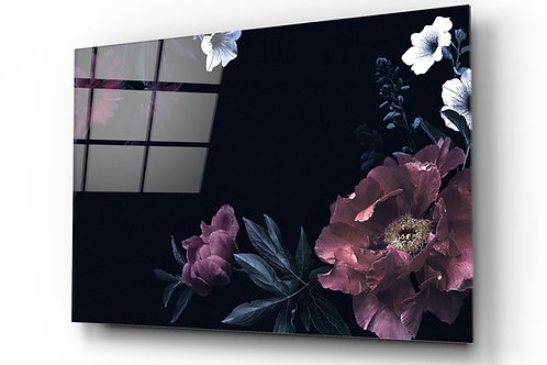 Pastel Flowers UV Printed Glass Painting