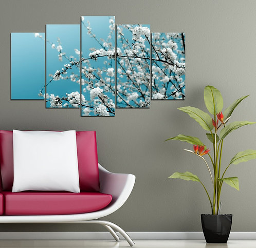 Branch flowers (5 5 Pieces MDF Painting