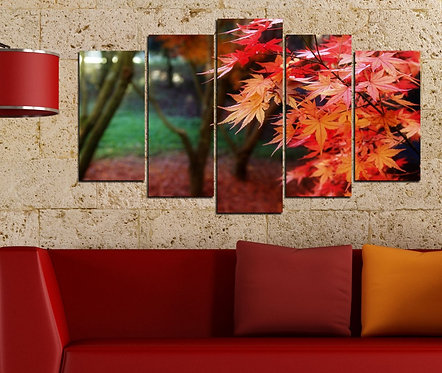 Autumn Leaves 5 Pieces MDF Painting