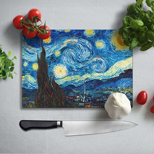 Van Gogh  Uv Printed Glass Chopping Board 35x25 cm