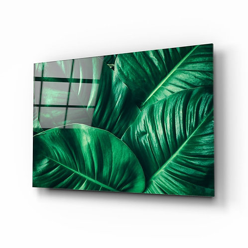 Green Tropical Leaf UV Printed Glass Printing