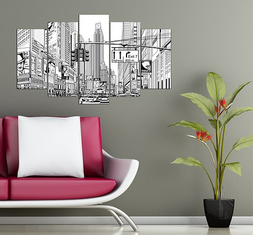 Manhattan Street 5 Pieces MDF Painting