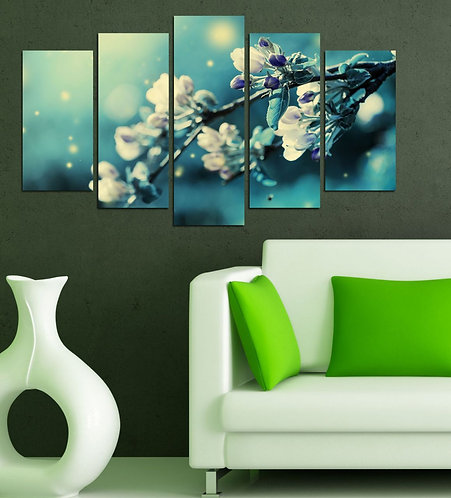 Flowers on branch (4) 5 Pieces MDF Painting