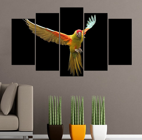 Tropical Parrot 5 Pieces MDF Painting
