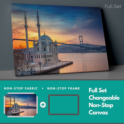 Ortakoy Mosque And Sunset Non-Stop Canvas Printings