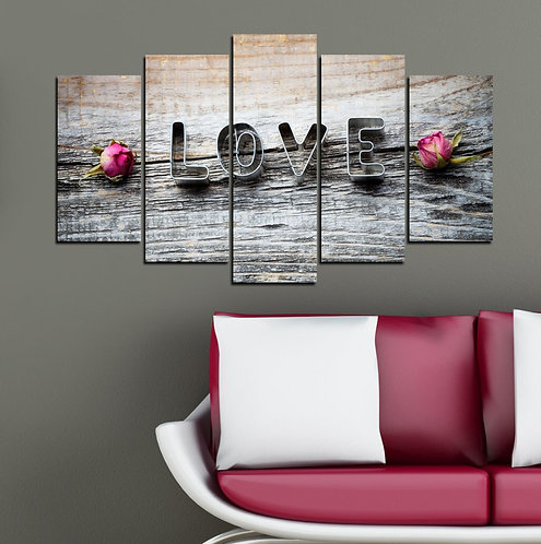 Love (2) 5 Pieces MDF Painting