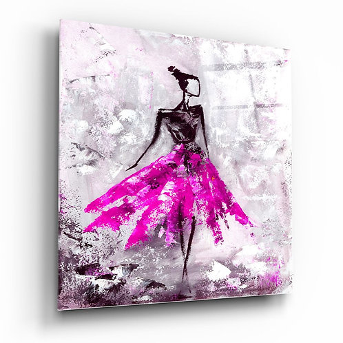 Women (Pink) UV Printed Glass Painting