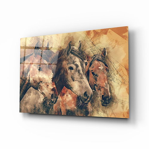 Horses Glass Painting